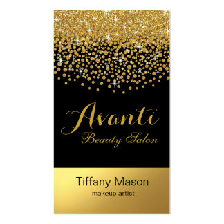 Glitter Confetti Beauty Salon   black gold foil Business Card