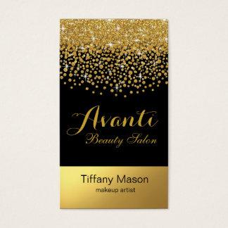 Glitter Confetti Beauty Salon | black gold foil Business Card