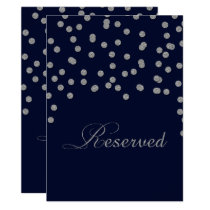 Glitter confetti navy silver reserved table sign card