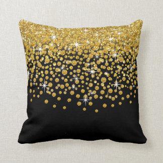 Glitter Confetti Shower | gold black Throw Pillow