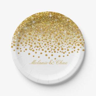 Glitter Confetti Shower | gold white 7 Inch Paper Plate