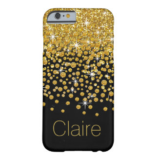 Glitter Confetti Shower Monogram | gold black Barely There iPhone 6 Case