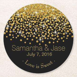 Glitter Confetti Shower Party | gold black Round Paper Coaster