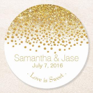 Glitter Confetti Shower Party | gold white Round Paper Coaster