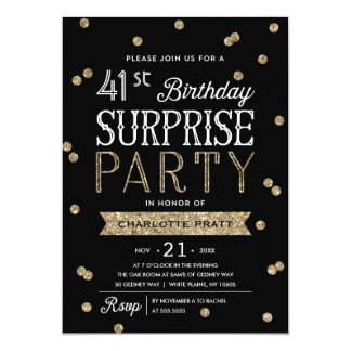 Glitter Confetti Surprise Party Invitation ANY AGE