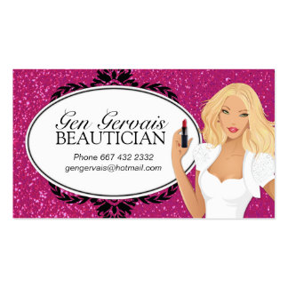 Glitter Cosmetologist Business Card Template