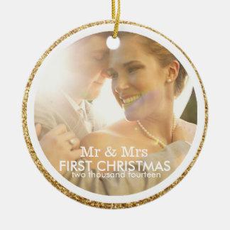 Glitter Couple Mr & Mrs First Christmas Ornament
