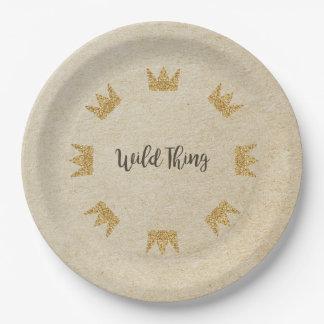 Glitter Crown Kraft Wild Thing Paper Plates