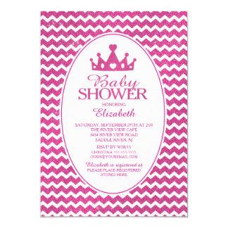 Glitter Crown Princess Baby Shower Invitatation Card