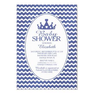 Glitter Crwon Prince Boys Baby Shower Invitatation Card