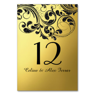 Glitter Curlicues on Faux Metallic Gold Table Card