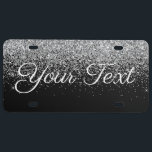 """Glitter Custom Text License Plate Silver Black<br><div class=""""desc"""">Make your own Custom Vehicle License Plate. Customize with your own initial,  name,  text,  title,  photo,  image,  colors etc. When changing the text to your own,  if the text is too big or small please use the customize further option to adjust the text size.</div>"""