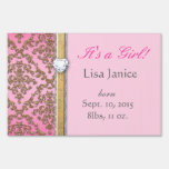 Glitter Damask Baby Shower Sign It's a Girl!