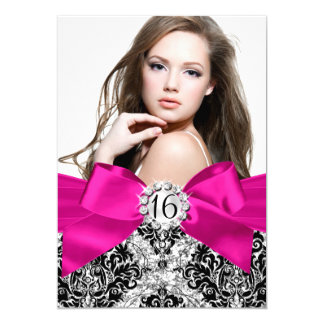 Glitter Damask & Hot Pink Bow Sweet 16 Photo Card