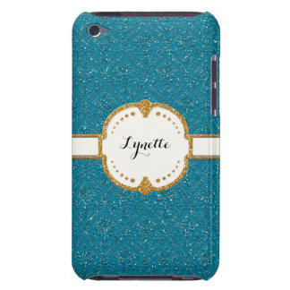 Glitter Damask Look Floral Pattern Personalized Barely There iPod Case