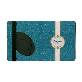 Glitter Damask Look Floral Pattern Personalized iPad Case