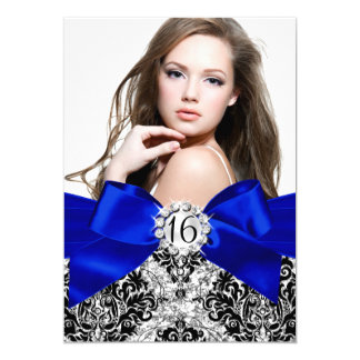 Glitter Damask & Royal Blue Bow Sweet 16 Photo 5x7 Paper Invitation Card