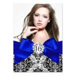 Glitter Damask & Royal Blue Bow Sweet 16 Photo 5x7 Paper Invitation Card
