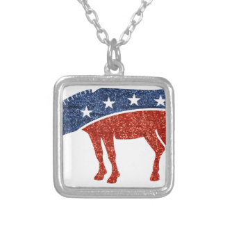 glitter democrat donkey silver plated necklace