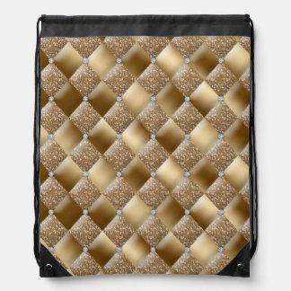Glitter Diamond Gold Bling Drawstring Bag