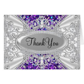 Glitter & Diamond Tiara Purple Thank You Card