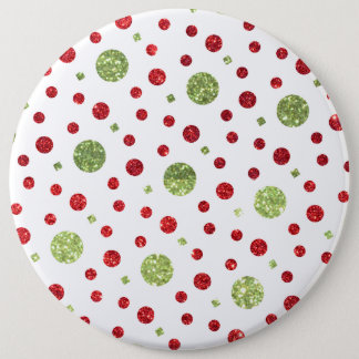 Glitter Dots in Christmas Red and Green Glitter Button