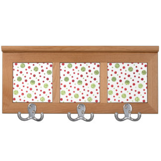 Glitter Dots in Christmas Red and Green Glitter Coat Rack