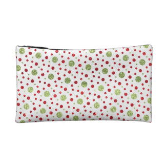 Glitter Dots in Christmas Red and Green Glitter Makeup Bag