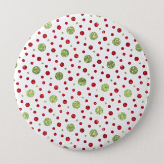 Glitter Dots in Christmas Red and Green Glitter Pinback Button