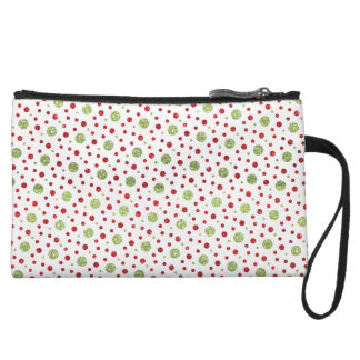 Glitter Dots in Christmas Red and Green Glitter Wristlet Wallet
