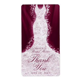 Glitter Dress Burgundy Thank You Custom Wine Label