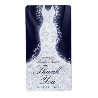 Glitter Dress on Blue Thank You Custom Wine Label