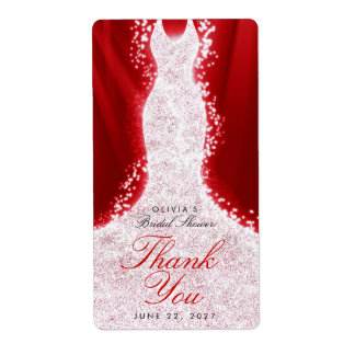 Glitter Dress on Red Thank You Custom Wine Label