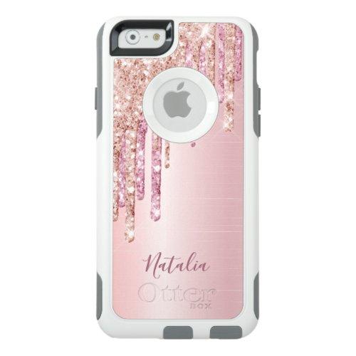 Glitter drip rose gold metallic name girly OtterBox iPhone 6/6s case