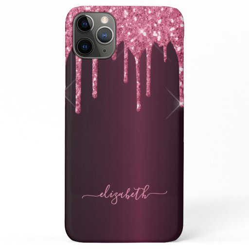 Glitter drips pink purple girly glam script iPhone 11 pro max case