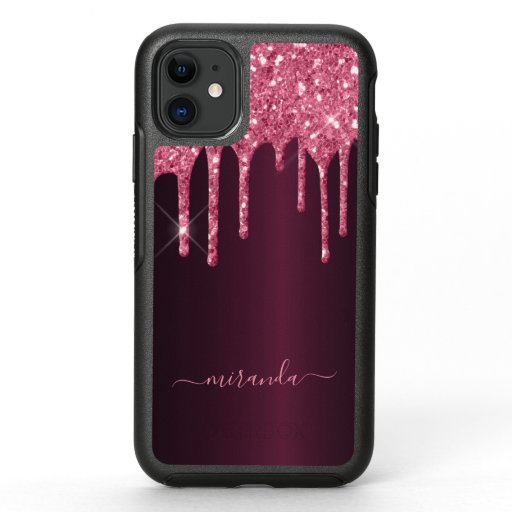 Glitter drips pink purple girly glam script OtterBox symmetry iPhone 11 case