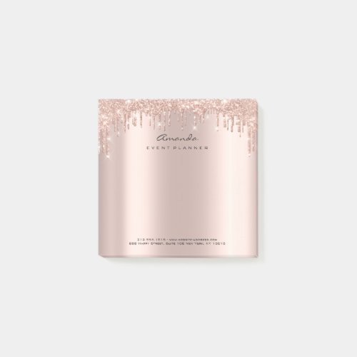 Glitter Drips Pink Rose Gold Name Adress Sparkly Post-it Notes