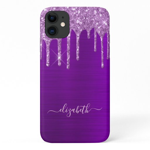 Glitter drips purple metal foil sparkle girly glam iPhone 11 case