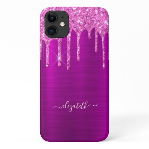 Glitter drips purple pink metal foil sparkle glam iPhone 11 case