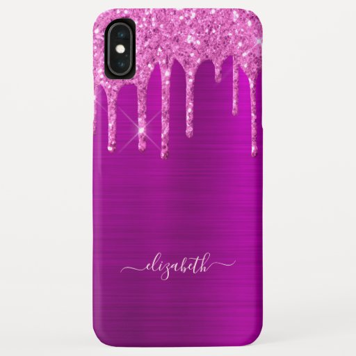 Glitter drips purple pink metal foil sparkle glam iPhone XS max case