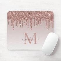 Glitter Drips Rose Gold Monogram Elegant Script Mouse Pad