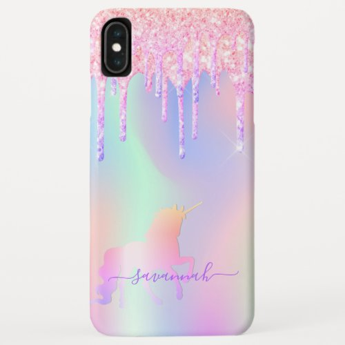 Glitter drips unicorn pink iridescent rainbow Phone Case