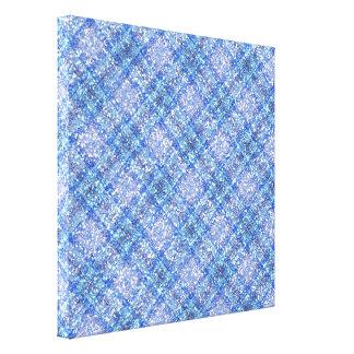Glitter Effect Blue Tartain Plaid Canvas Print