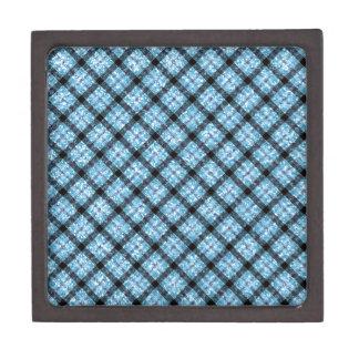Glitter Effect Blue Tartan Plaid Jewelry Box