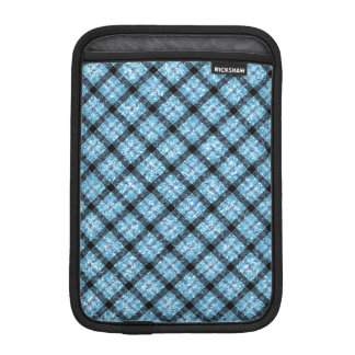 Glitter Effect Blue Tartan Plaid Sleeve For iPad Mini