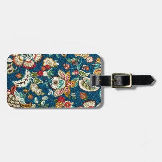 Glitter Effect Floral on Dark Blue Bag Tag