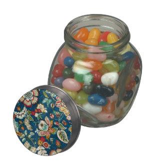 Glitter Effect Floral on Dark Blue Glass Jar