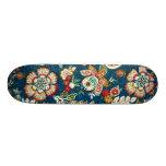 Glitter Effect Floral on Dark Blue Skateboard Deck