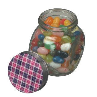 Glitter-effect Girly Tartan Plaid Glass Candy Jar