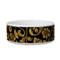 Glitter Effect Gold Floral on Black Bowl
